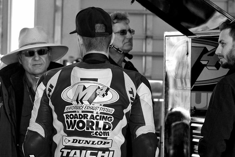 John and Chris Ulrich in the M4 Suzuki garage